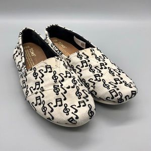 TOMS White Music Note Canvas Flats